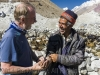 Bill Hanlon, Basic Health Int'l, and KADO rep Imran Khan interview shepherds during mobile health clinic near Zood Khun village, Chipurson Valley, tributary of Hunza Valley, Pakistan